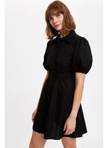 DeFacto Balon Kollu Kemerli Gömlek Elbise Siyah